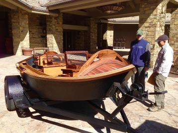 Wood driftboat on custom trailer